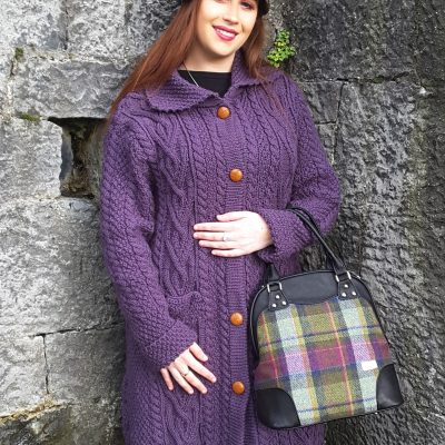 Dingle Linens aran jacket purple with abbie-bag newsboy cap