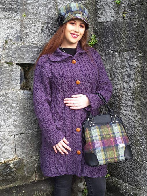 Dingle Linens aran jacket purple with abbie-bag newsboy cap