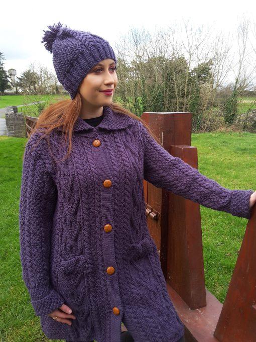 Dingle Linens purple aran handknit with matching cap